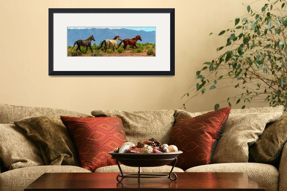"""""""Grey, White and Chestnut Horse Panorama View&quot  (2016) by lightningman"""
