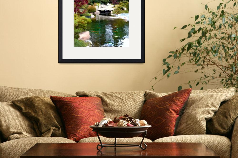 """""""Japanese Garden with Bridge and Koi Pond&quot  by ElainePlesser"""