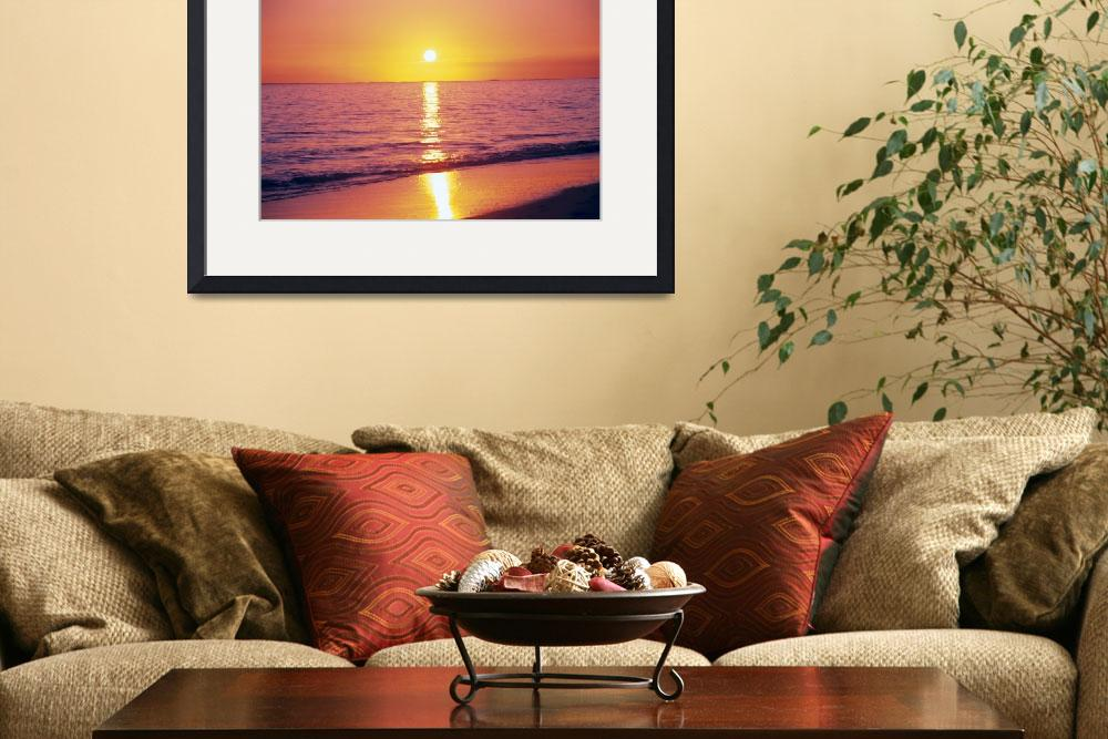 """Orange Pink Sunset Sky With Sun Ball, Reflection O&quot  by DesignPics"