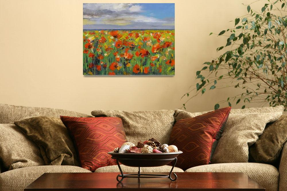"""""""Poppy Field with Storm Clouds&quot  by creese"""