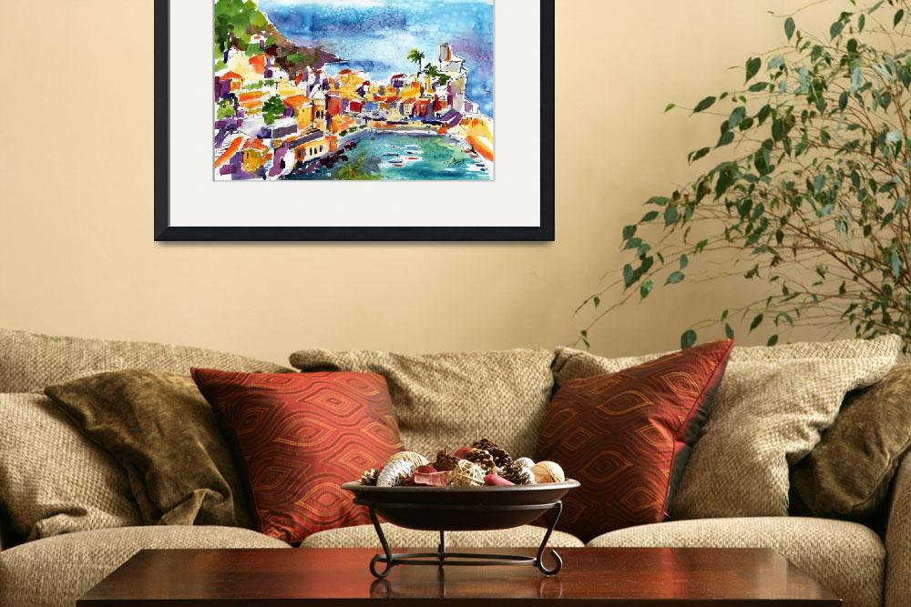 """Vernazza Cinque Terre Italy Watercolor by Ginette&quot  (2011) by GinetteCallaway"