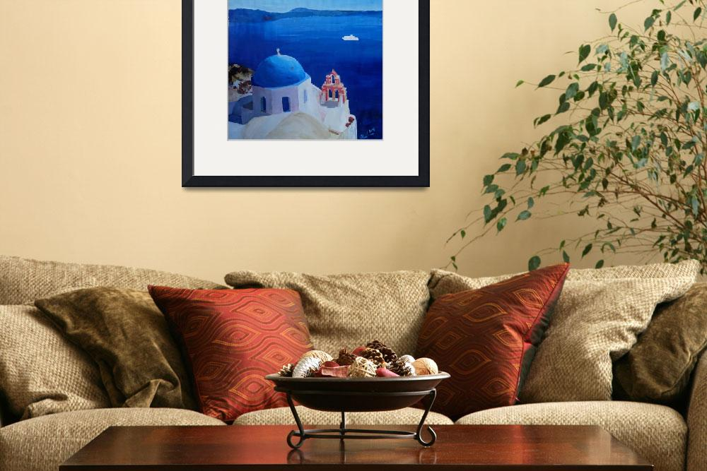 """""""Santorini, Greece - View from Oia Vintage Poster&quot  (2015) by arthop77"""