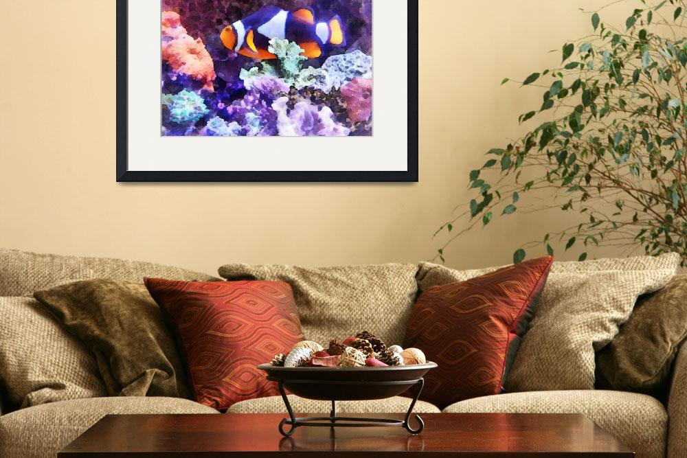 """""""Clownfish and Coral&quot  (2012) by susansartgallery"""