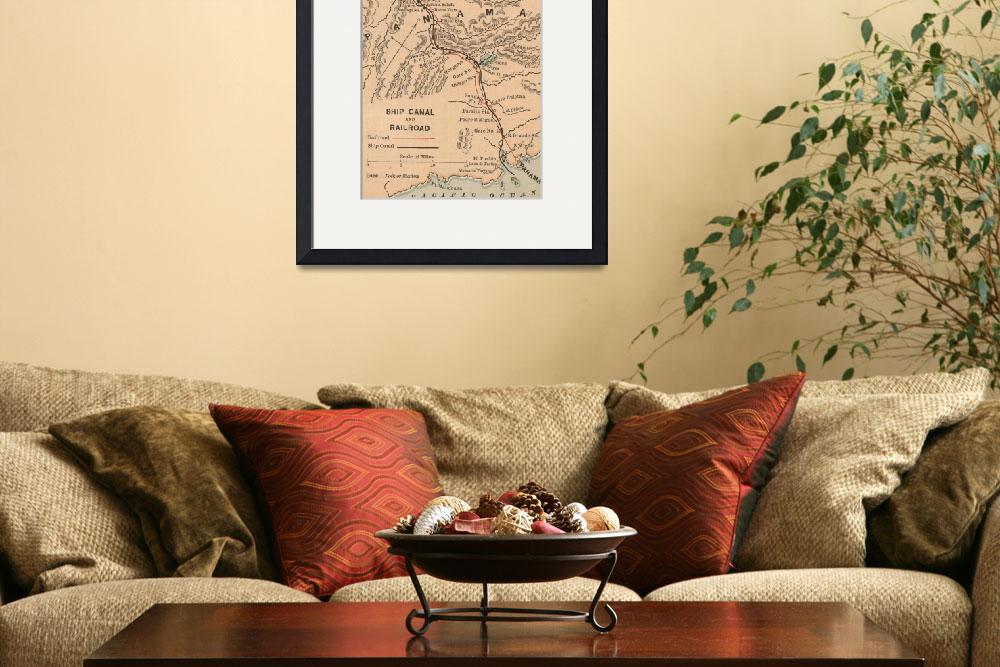 """Vintage Map of The Panama Canal (1885)&quot  by Alleycatshirts"