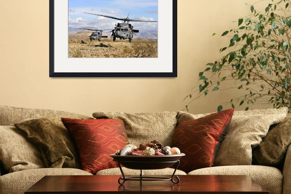 """""""Two HH60 Pavehawk helicopters preparing to land&quot  by stocktrekimages"""