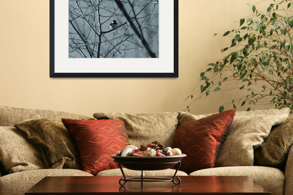 """Black capped chickadee sits in a tree""  (2012) by KsWorldArt"