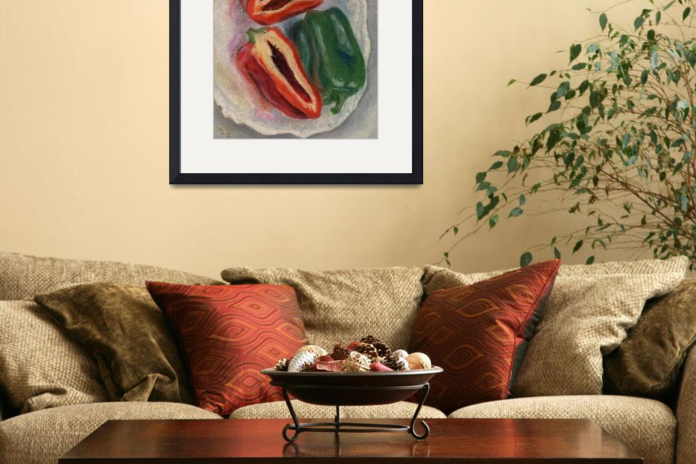 """""""red and green peppers&quot  by JenuArt"""