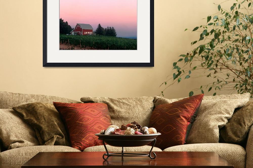"""""""Red Barn, Pink Sunset&quot  by winecountrycreations"""